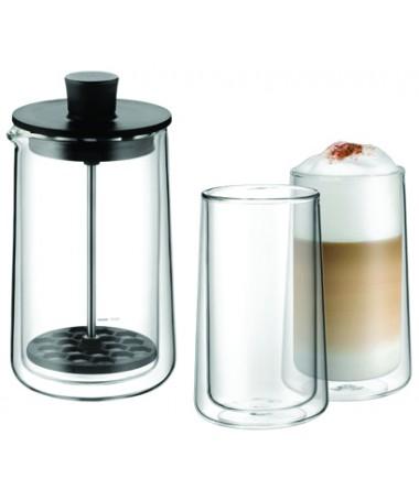 WMF - spieniacz do mleka ze szklankami z podwójnymi ściankami