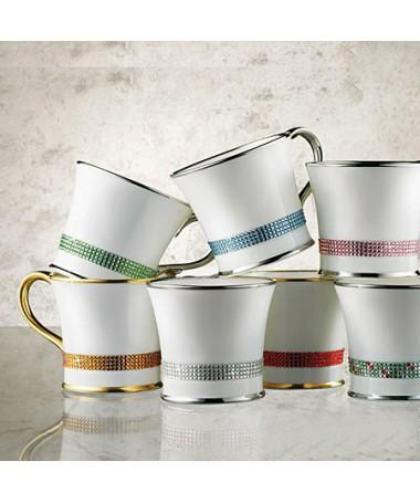 Kubek do kawy z kryształkami Swarovskiego (srebro)